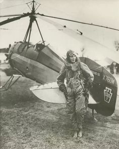 Amelia Earhart and her Autogyro (kind of an airplane-helicopter cross).