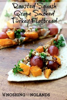 Pizza takes a fun, healthy twist with this recipe for Roasted Squash, Grape, and Smoked Turkey Flatbread by Noshing With The Nolands