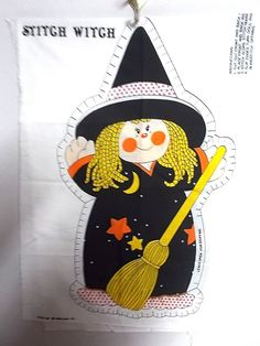 Stitch Witch stuffed doll panel sewing fabric Halloween witches craft panels  #SpringMills