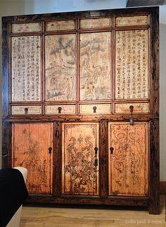 Chinese 19th C Gonsu Province Cabinet at Primitive