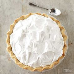 Want to know if there's a way to prevent meringue pie topping from weeping? We've got five tips to help you make the ultimate meringue pie. 500 oven a few minutes. Make meringue first, pulse sugar Cake Roll Recipes, Cream Pie Recipes, Frosting Recipes, Cupcake Recipes, Pie Dessert, Dessert Recipes, Baking Recipes, Bhg Recipes, Recipies