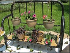 Planter Bench from an old metal bed frame.