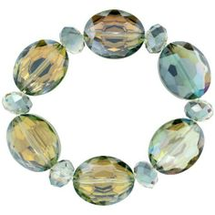 Fern Green Oval & Round Faceted Crystal Beads Stretch Bracelet, 7 inch long Sabrina Silver. $14.50