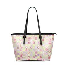 pink-polka-dots Leather Tote Bag/Small (Model 1640)