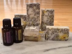 Handmade lemon lavender soap in a coconut base with lavender buds and lemon zest. 100% pure Doterra Essential oils and all natural ingredients.
