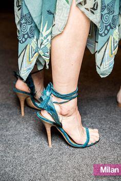 Etro spring 2015 feather-tie sandals