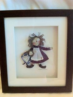 Carol Spence Sellners Framed Raggedy Ann Rag Dolls Signed Miniature