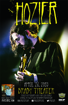Hozier  Sun - Apr 26 Brady Theater 105 W. Brady St. Tulsa, OK   Tickets on sale FRI 12/12 @ 10am Reasor's and Starship  Records in Tulsa Buy For Less locations in OKC By phone @ 866.977.6849 Online @ protix.com Doors open at 7pm All ages welcome