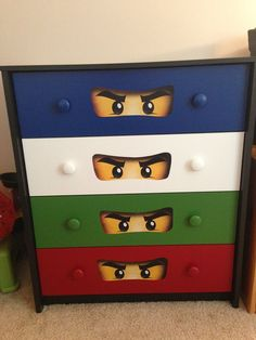Ninjago Dresser: Satin Behr Ultra, printed ninjango eyes and modge podge.