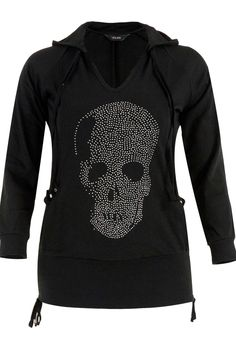 Yours Clothing Womens Plus Size Black V Neck Hoody with Studded Skull Detail | eBay