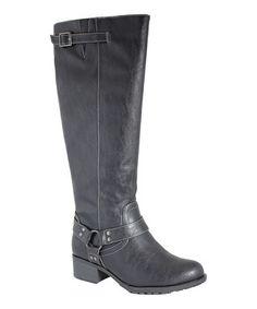 Black Nevada Extra Wide-Calf Riding Boot