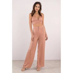 Tobi  By Your Side Wide Leg Satin Pants (€47) ❤ liked on Polyvore featuring pants, nude, pink pants, high waisted trousers, high waisted satin pants, pink wide leg trousers and high rise pants