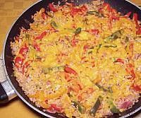 Mix bell peppers with instant brown rice, add the flavor of salsa, Italian dressing and top with cheddar cheese.