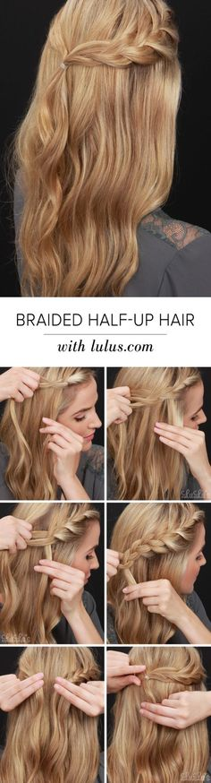 Easy braided half-up hairdo