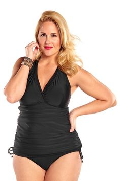 fcb4e3124628b Always For Me Control Retro Halter Plus Size Swimdress Black - Only Size  24W Left