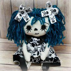 Little SKY Annie goth Ghost Art doll Primitive folk art cute Fantasy button eye Gothic Gift Handmade OOAK spooky Collectible Skull by OCRLimitedArts on Etsy