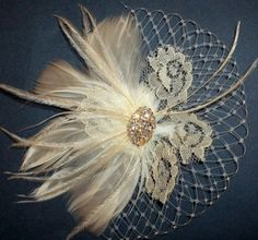 White or Ivory Vintage style bridal hair fascinator feathers french net lace rhinestone jewel - feathered fascinator bridal hair clip