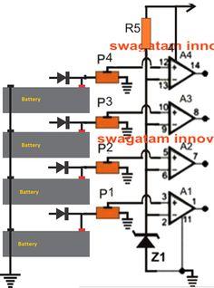Self Regulating 4 Battery Opamp Charger Circuit