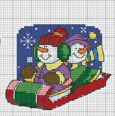 KUFER with artistic handicraft: Mini and small embroidery - patterns Christmas Charts, Cross Stitch Christmas Ornaments, Xmas Cross Stitch, Cross Stitch Boards, Christmas Cross, Cross Stitching, Cross Stitch Embroidery, Embroidery Patterns, Snowman Cross Stitch Pattern