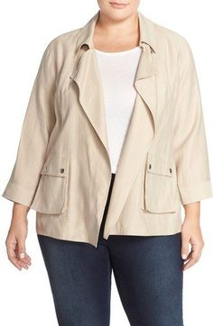 Nordstrom Jackets - Sejour Pocket Detail Swing Jacket (Plus Size) available at Nordstrom Jackets, Plus Size Coats, Pocket Detail, Military Jacket, Style Me, Blazer, Searching, Sew, Free Shipping
