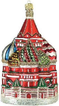 St. Basil's Cathedral Polish Glass Christmas Tree Ornament