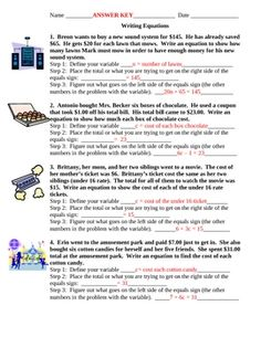 Two Step Equation Word Problems Worksheets | Math-Aids.Com ...