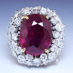 Estate 17.50ctw HUGE Oval Ruby & Diamond Waterfall Halo Ring in 18kt Gold in Jewelry & Watches, Vintage & Antique Jewelry, Fine, Retro, Vintage 1930s-1980s, Rings | eBay