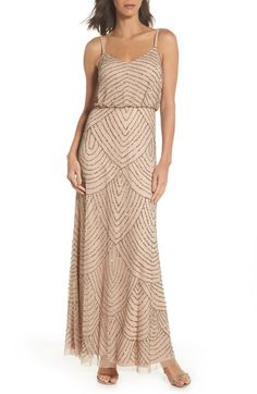 d61157170f2 Adrianna Papell Taupe Pink Women s Beaded Blouson Gown (Champagne Gold)  Formal Dress