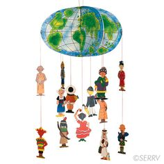 This Fair Trade mobile features children in costumes representing cultures around the world and is hand painted with extraordinary detail. WARNING: CHOKING HAZARD - Small parts. Not for children under 3 yrs. World Mobile, Bible Stories For Kids, World Crafts, Up Book, Thinking Day, Recycled Art, Kids Decor, In Kindergarten, Kids Playing