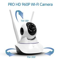 TBI 2016 WiFi Camera - BEST Quality PRO HD 960P - IP Security, Pan/Tilt Smart Video Baby Monitor 2016 - NEW P2P Wireless Digital Cameras CCTV System for Home Surveillance. Connect iPhone iOS, Android
