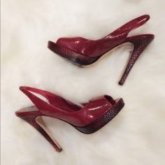 """BEBE Brand new Red Sling backs BeBe """"Katie"""" Red Patent Leather Peep Toe Slingback heels- Brand new never been worn 1 inch """"Python skin"""" platform and 4 inch Python skin heel bebe Shoes Heels"""