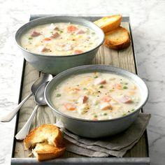 Cheddar Ham Soup Ham And Potato Soup, Ham And Bean Soup, Ham Soup, Cheddar, Best Soup Recipes, Favorite Recipes, Xmas Recipes, Pie Recipes, Soup Appetizers
