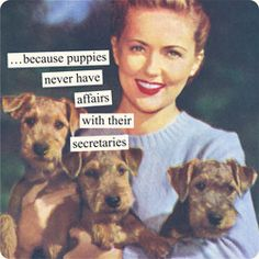"""""""Because puppies never have affairs with their secretaries."""" ~Anne Taintor https://www.pinterest.com/lightc/retro-sarcasm/"""