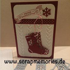 Home - Scrapmemories | Basteln in Ingolstadt | Stampin up, Stampinup, Weihnachtskarte, Glückwunschkarte, Von den Socken, Thinlitsformen Weihnachtsstrümpfe, Stempel, Stanzen, Band, Diy, Winterkatalog2016