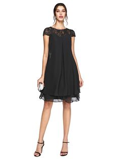 Lanting Bride® A-line Plus Size Mother of the Bride Dress - Little Black Dress Knee-length Short Sleeve Chiffon / Lace withBeading / - USD $76.49