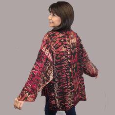 Gorgeous one of a kind handwoven, shibori-dyed jacket in shades of raspberry, magenta, orange, copper, cream, and black. Textile Artists, Shibori, Wearable Art, Magenta, Red Velvet, Hand Weaving, High Neck Dress, Bird, Long Sleeve