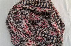 Long Scarf Indian Sari Scarf Tan Red Black Scarf