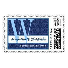 Navy Blue Damask Wedding Monogram W Bride Groom Stamp