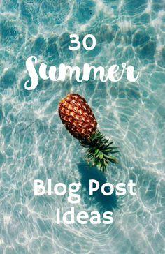 30 SUMMER BLOG POST IDEAS ⇨ Follow City Girl at link https://www.pinterest.com/citygirlpideas/ for great pins and recipes! ☕