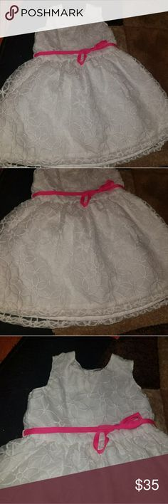 Infant dress All white with pink tie around bow. Carter's Dresses Casual