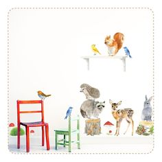 Movable PVC free fabric wall stickers watercolour Woodland Animals by Ko-Ko-Ko for Chocovenyl. Peel & stick, removable and repositionable.