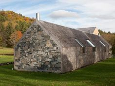 """""""a contemporary gable house with stone walls and a cedar shingle barn in Woodstock, Vermont by architect Rick Joy Architects"""""""