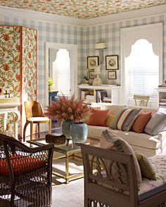 Love Fresh Traditional - paper walls & ceiling! Great window treatments.