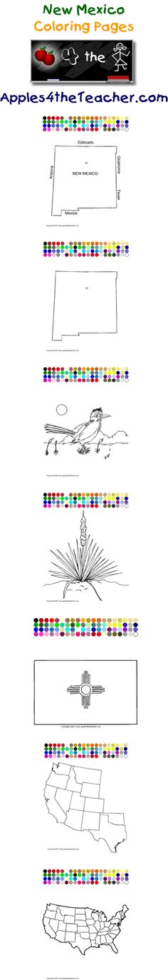Printable interactive U.S. State coloring pages, New Mexico coloring pages for kids.