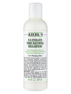 Kiehl's Ultimate Thickening Shampoo: This shampoo is infused with thickening polymers and proteins to strengthen and texturize thinning hair. $18; kiehls.com #thinninghair