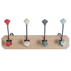 Mango Wood Coat Rack with 4 Ceramic and Metal Hooks Parasols, Bedroom Doors, Affordable Furniture, December Daily, Crochet, Metallica, Triangle, Sweet Home, House Styles