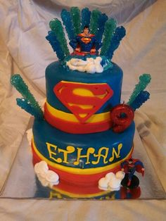 Super man birthday cake by LaKeisha Hill / Keck with Sweet Tooth Mother and Daughter Cakes. Knoxville, TN