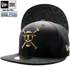 new product 53899 faa88 One piece x new era Cap under visor monkey d Luffy black   gold ONE PIECE