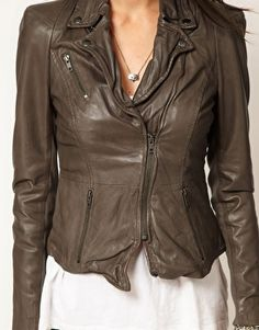 Image 3 of Muubaa Sharp Shouldered Leather Biker Jacket in Taupe