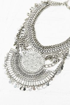 Embellished Statement Necklace in Silver